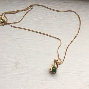 Green stone and gold plated teardrop pendant